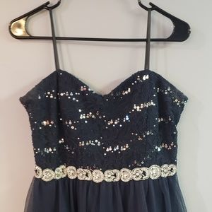 Navy Blue Dress with Beaded Belt